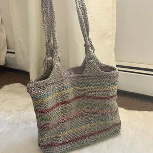 The Sak crochet shoulder bag tote gray large